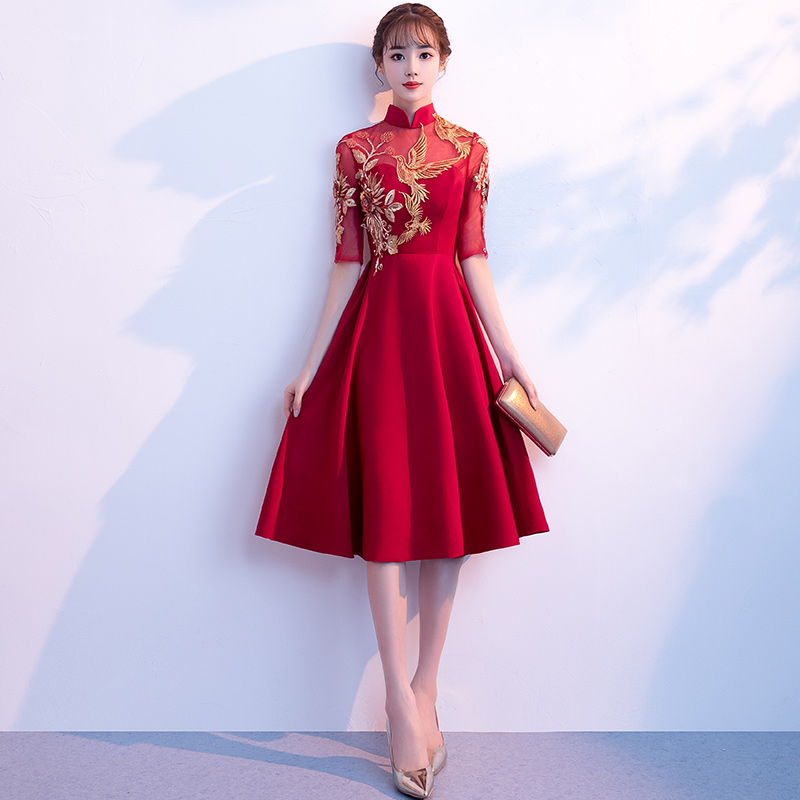 新娘敬酒服2018新款红色复古立领短款中式结婚晚礼服女中长款夏季