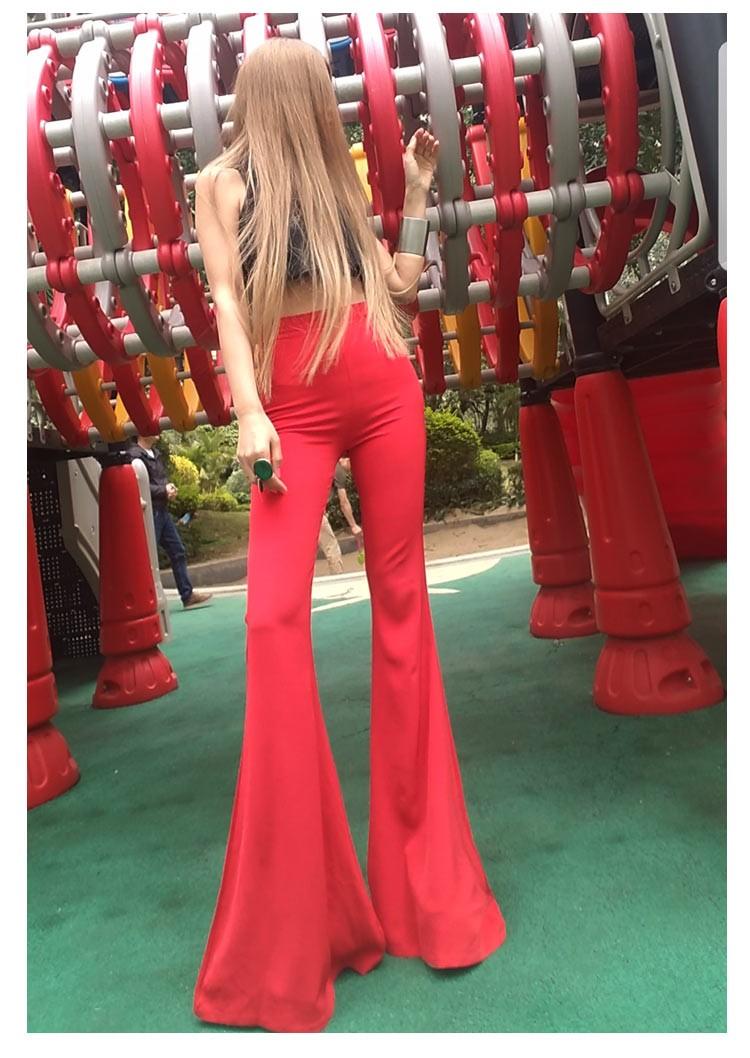 大码全新弹力本命年喇叭裤休闲女裤修身长款及踝高腰裤包臀裤红