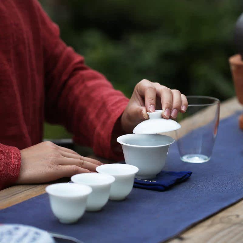 陶缘杰艺  旅行功夫茶具套装办公快客杯陶瓷盖碗茶杯户外泡茶便携