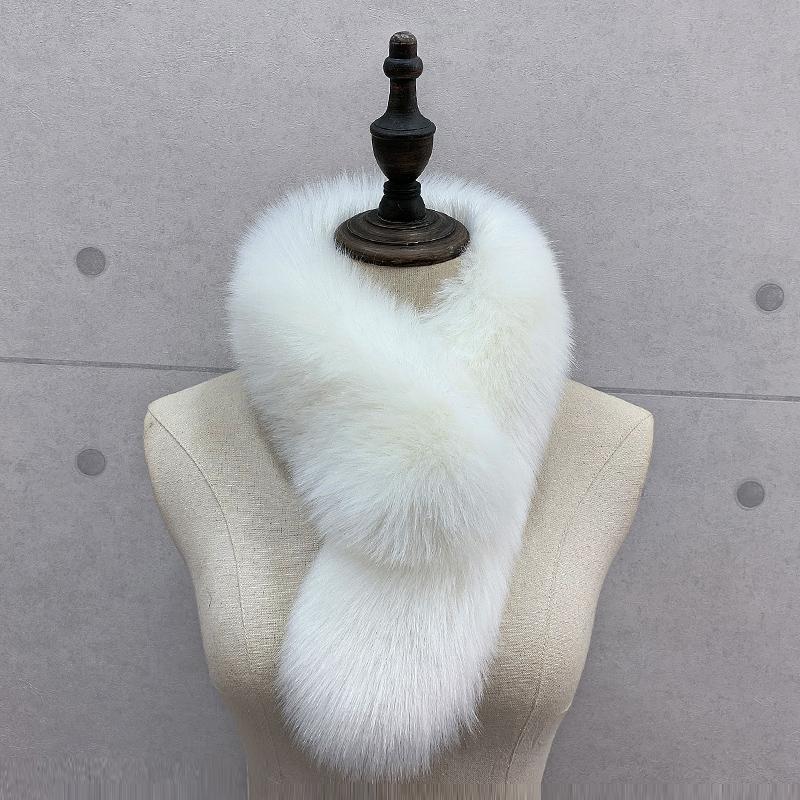 冬季新款仿皮草围巾狐狸毛百搭纯色毛领女保暖加厚围脖围巾假领子