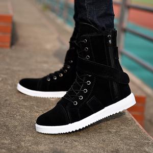 冬季英伦风马丁靴男士加绒棉鞋雪地中帮高帮鞋子男靴秋靴长高筒靴