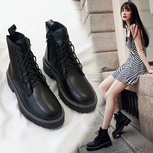 2019秋季杨幂同款鞋子马丁靴女透气厚底靴子帅气机车风英伦风短靴价格