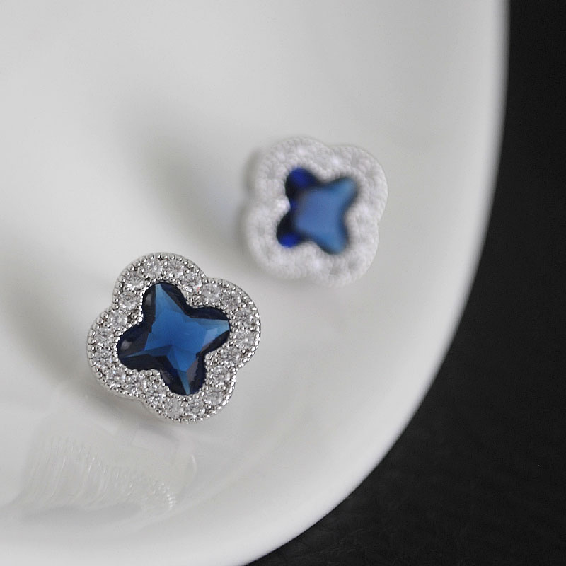 Super sparkle Blue Crystal Gemstone water diamond clover Earrings Japanese Korean fashion elegant temperament Earrings