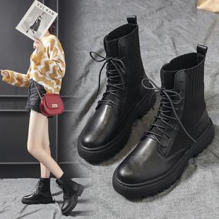 马丁靴2019新款 秋英伦风百搭飞织短靴女靴子ins网红瘦瘦靴袜子靴