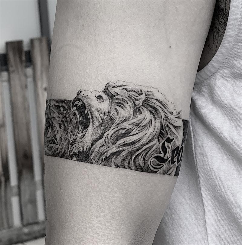 (用1元券)防水 男女持久遮疤浮世绘花臂原创天使手臂臂环狮子ins纹身贴男潮