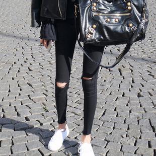 2020年新款 女九分韩版 薄款 破洞牛仔裤 夏季 高腰显瘦紧身黑色小脚裤
