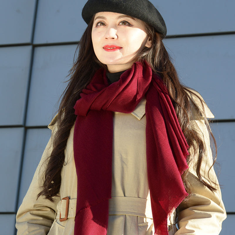 Wine red wool scarf for women in spring and Autumn