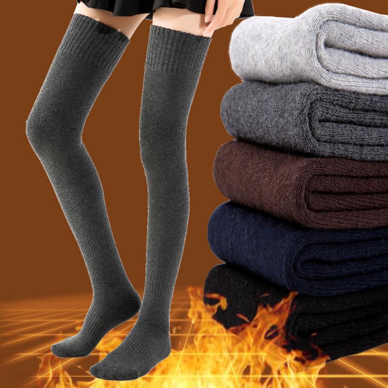 Autumn and winter thickened warm terry socks high tube socks knee socks Terry knee socks solid color warm socks womens pile socks