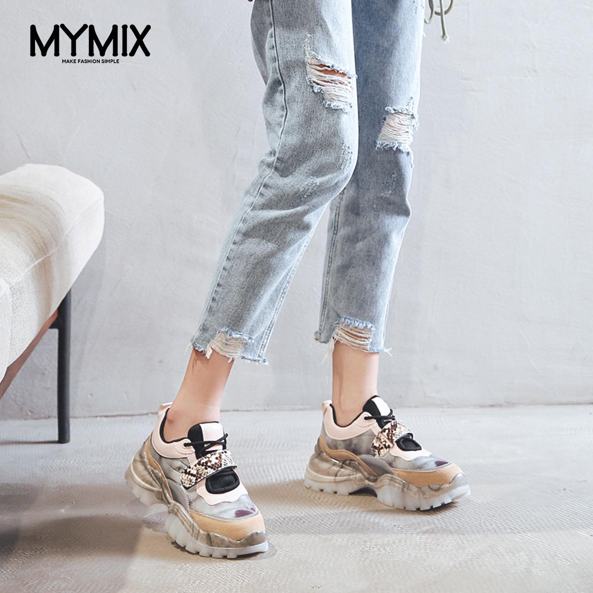 MYMIX我的组合2019秋季新款厚底系带魔术贴真皮运动休闲老爹鞋女