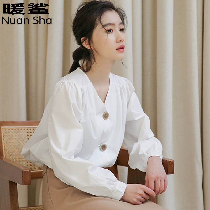 Summer new literary and artistic White V-Neck pleated loose long sleeve shirt avocado fruit green bottom top womens loose shirt