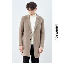 秋冬毛呢大衣男中长款阿尔巴卡羊毛双面呢外套男士韩版无羊绒风衣