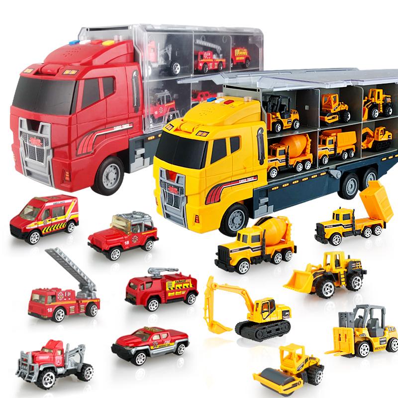 宝宝大号儿童玩具合金车货柜工程挖掘机消防车模型套装小汽车男孩