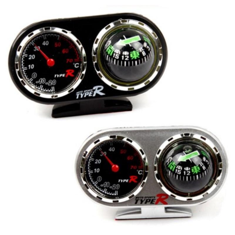 TYPER汽车指南针 罗盘 车载指南针 车用温度计二合一仪表台方向球