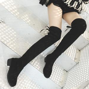 长靴女过膝瘦瘦靴2018新款平底长筒靴子冬季网红粗跟百搭高筒女鞋