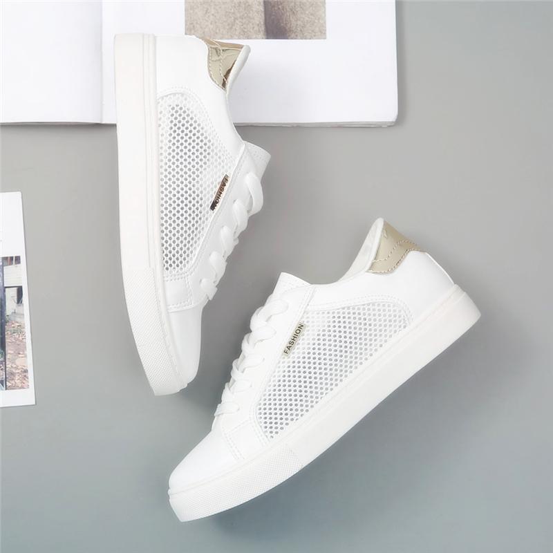 透气小白鞋女夏季薄款2020新款网红女鞋学生鞋子平底百搭网面网鞋图片