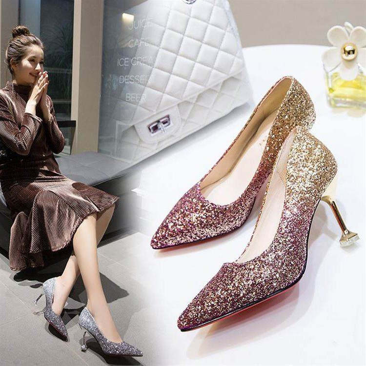 Japanese spring bride shoes wedding shoes new crystal shoes silver high heels womens pointed thin heels sequins