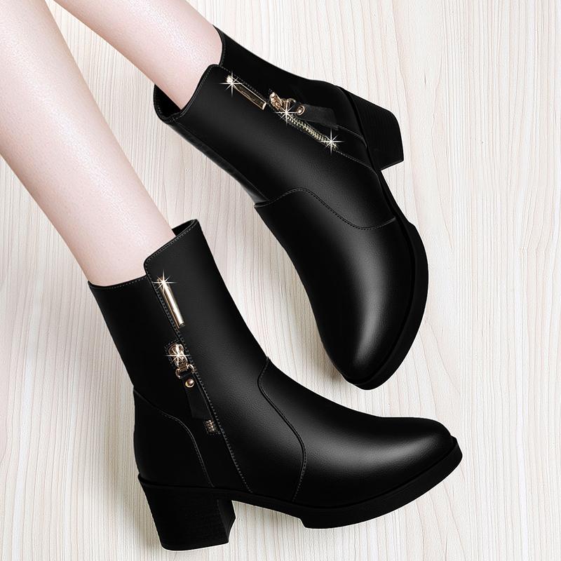 短靴2019年新款棉鞋春秋冬季皮鞋秋款网红加绒女鞋子马丁靴女靴子