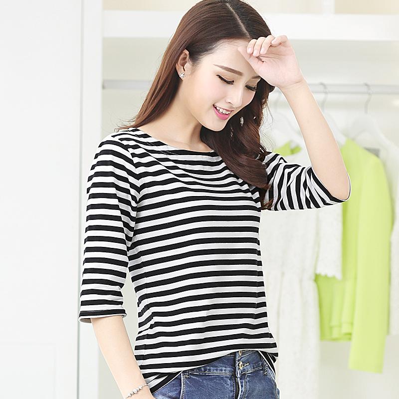 【2件】条纹七分袖T恤女士夏装韩版显瘦宽松大码上衣女装修身潮流