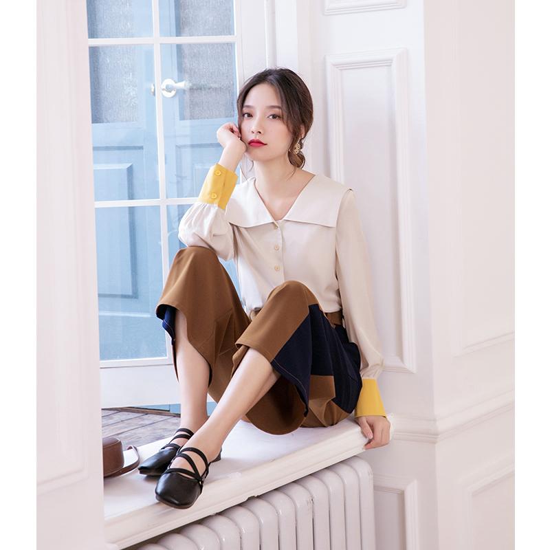 2019秋季新款休闲气质长袖衬衫女设计感小众复古法式衬衣修身上衣