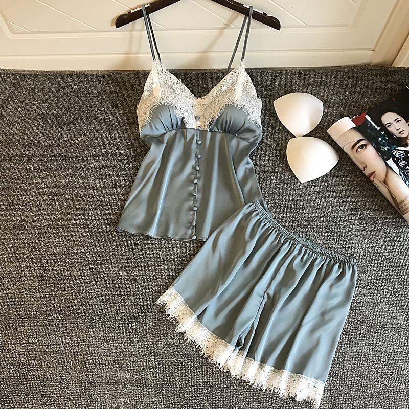 春夏季新女吊带短裤性感睡衣两件套装真丝绸家居服蕾丝带胸垫韩版