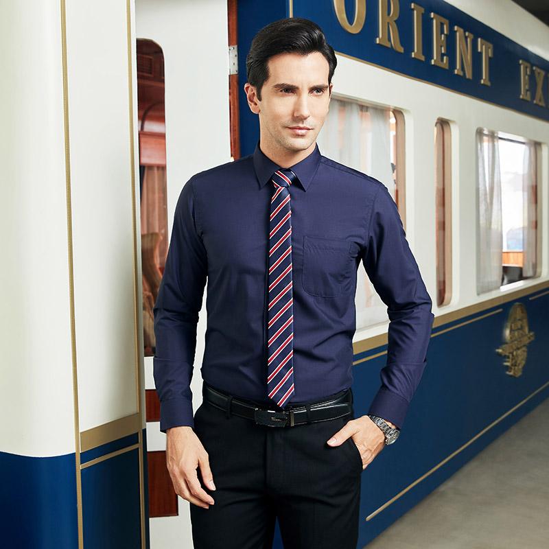 纯色男士长袖衬衫韩版修身上班工作职业正装白衬衣商务寸衫蓝色潮