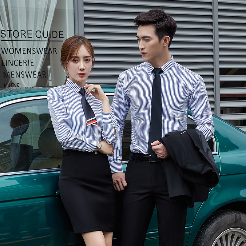 Mens and womens same shirt professional dress long sleeve white shirt suit sales work wear stripe embroidery logo
