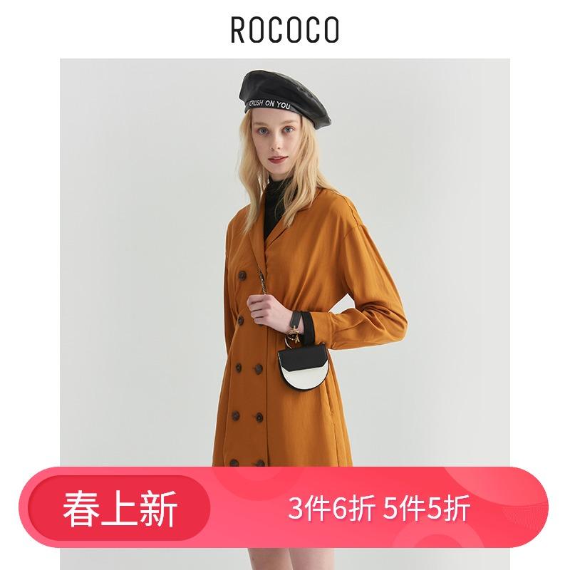 【商场同款】2019秋装新款高腰西装领连衣裙短裙468913TA1935