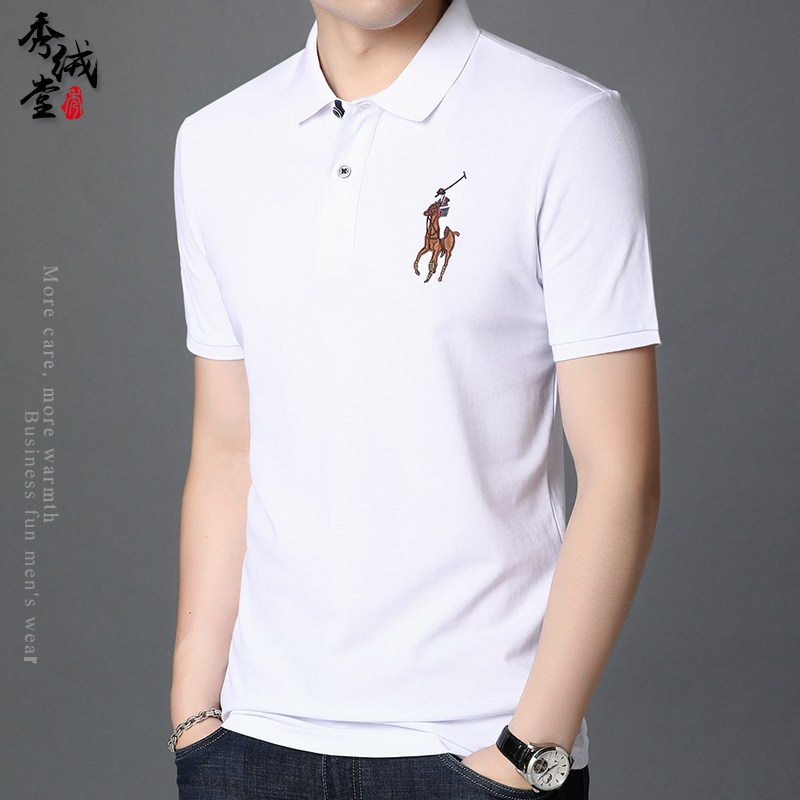 Cotton polo shirt embroidered horse logo new T-shirt middle aged mens short sleeve T-shirt Lapel cotton half sleeve polo shirt