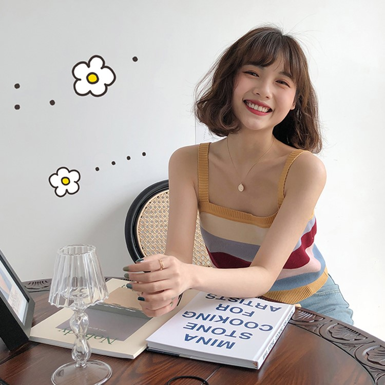维菲萱彩虹条纹针织女ins潮夏吊带热销25件有赠品
