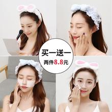 洗脸束发带女网红简约化妆头套韩国可爱头饰敷面膜洗漱头带发箍