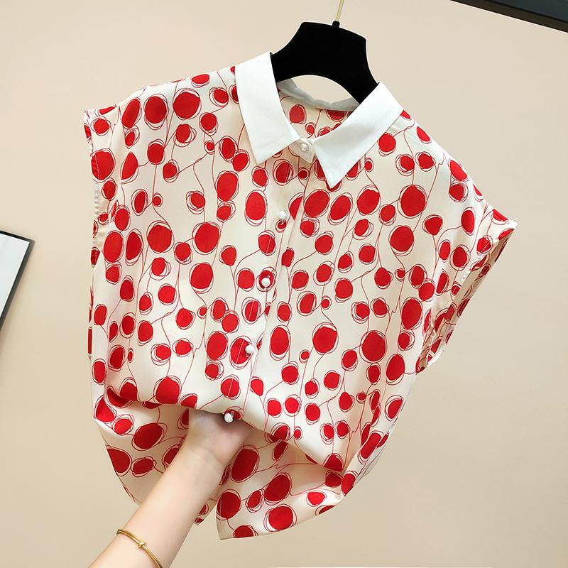 (用89元券)雪纺衫女短袖2019新款红色波点衬衫