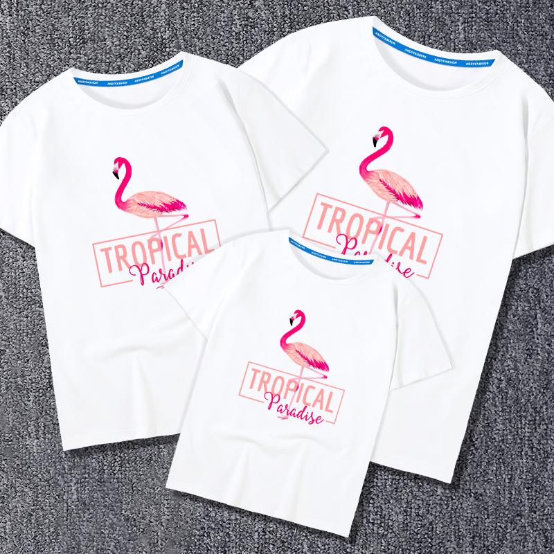 趣味亲子装夏装2018新款潮短袖T恤全家装母子母女装春装一家三口