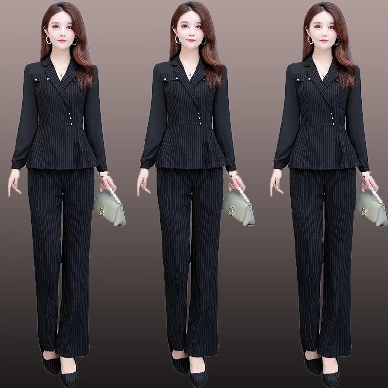 秋装洋气减龄阔腿裤中老年女装气质女神范名媛妈妈套装时尚两件套