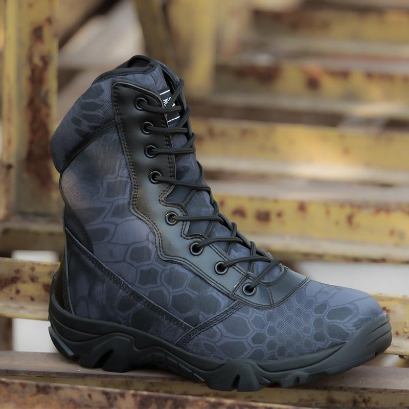 盾郎户外迷彩军靴男超轻特种兵高帮作战靴战术鞋野战靴沙漠靴子