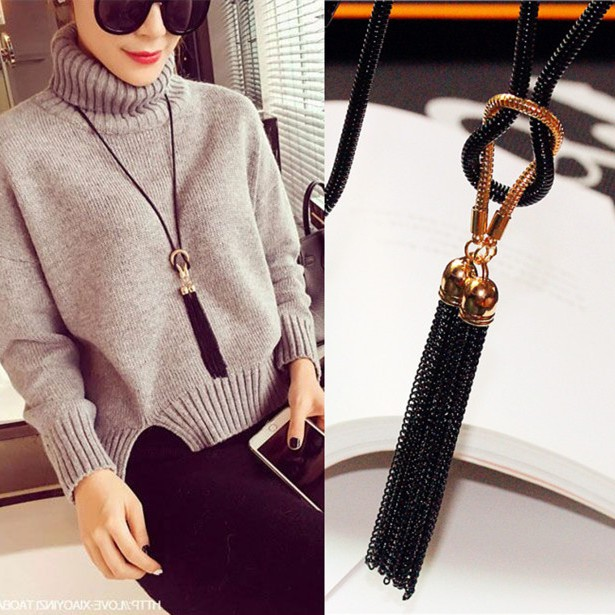 Japanese DD Korean crystal leather tassel sweater chain autumn and winter water drop bow Long Necklace clothing accessories