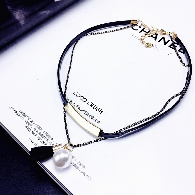 Japanese buy Korean crystal lace chain pearl tassel Korean accessories neck chain neck with short collar lock