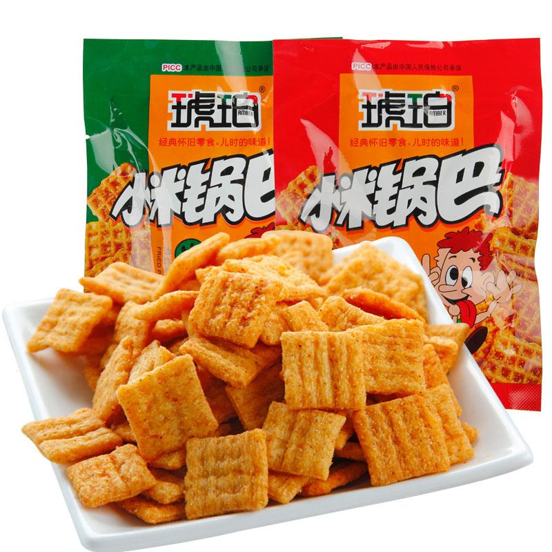 11月29日最新优惠琥珀小米锅巴零食批发整箱麻辣味安徽特产饼干糕点90怀旧小吃500g