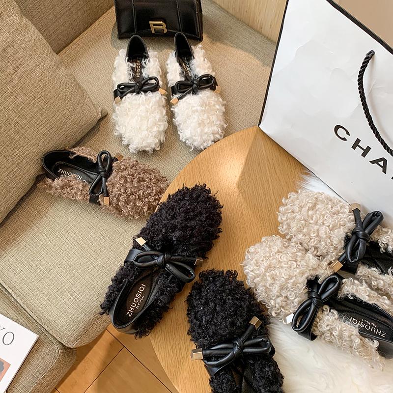 蝴蝶结羊羔毛豆豆鞋女冬季平底两穿懒人毛毛鞋皮毛一体卷毛棉瓢鞋