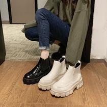 网红靴子女2019秋新款英伦风齿轮厚底松糕机车马丁靴短筒切尔西靴