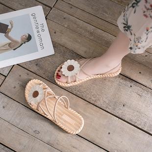 2020夏季新款半拖网红花朵时尚ins潮沙滩外穿凉拖鞋女外出可湿水