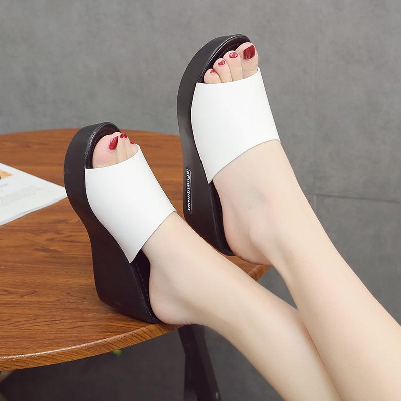 2020夏季新款厚底高跟坡跟一字拖外穿女凉拖防水台女拖鞋百搭女鞋