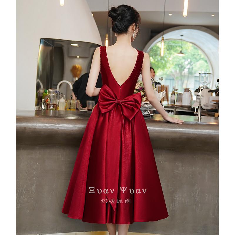 高级钉珠敬酒服新娘2021新款订婚小礼服连衣裙酒红色日常可穿夏季