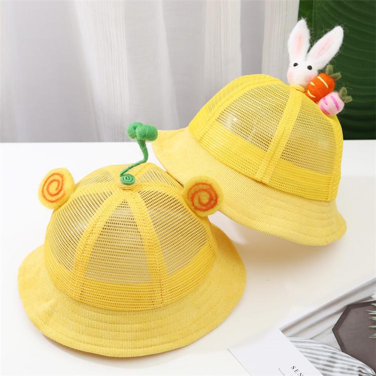 夏天宝宝帽子网帽儿童遮阳防晒太阳帽男女童可爱薄款夏网眼渔夫帽