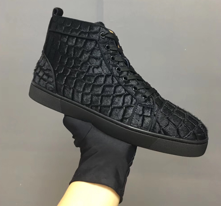 CL CIAGA 欧美高端女鞋男鞋高帮鞋黑色马毛压纹系带休闲鞋红底鞋
