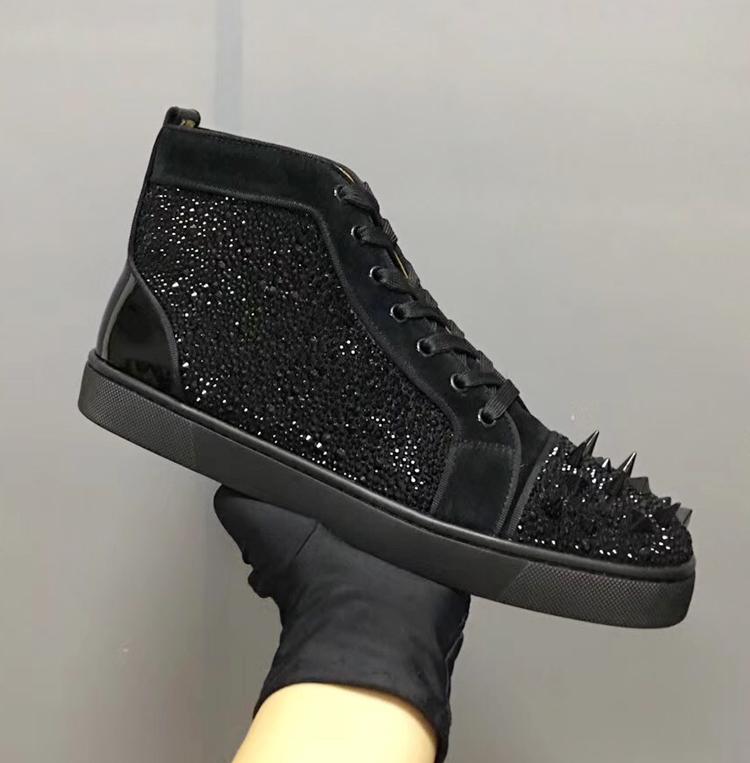 CL CIAGA 欧美高端女鞋男鞋高帮鞋黑色杂钉水钻系带休闲鞋红底鞋