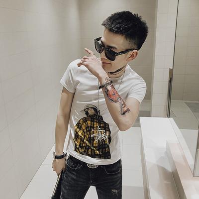 Y1015-P45-2019春夏修身短袖T恤 社会小伙人物印花打底衫 控65