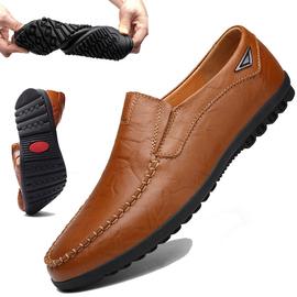 2019秋季豆豆鞋男士真皮软底商务休闲鞋男加绒英伦小码套脚皮鞋潮图片