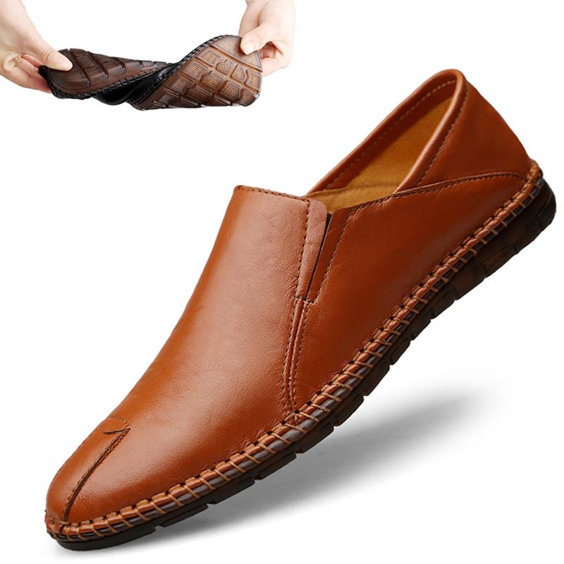 男士豆豆鞋真皮夏季软底