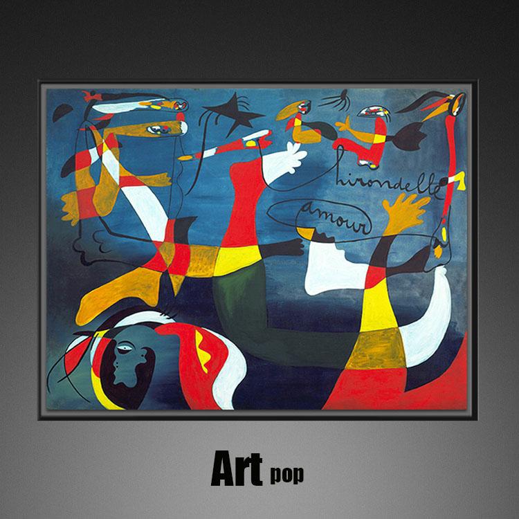 飛翔的愛-米羅藝術畫餐廳抽象油畫客廳裝飾畫北歐板房抽象畫