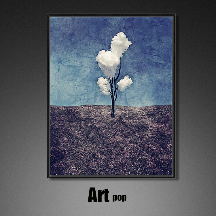 三朵白云餐厅简约抽象画姓冷淡风工业现代客厅装饰画玄关过道油画
